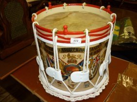 Brass Military Marching Drum Painted With The Crest Of
