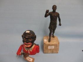 Cast Iron Negro Money Box, Marked Made In England,