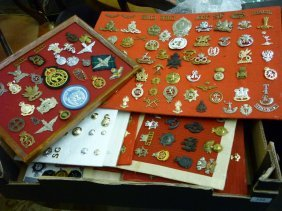 Large Collection Of Military Badges And Buttons Mounted