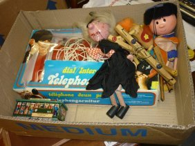 Three Pelham Puppets, Boxed Toy Telephone Set And A