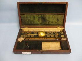 Mahogany Cased Brass Hydrometer With Weights, Ivory