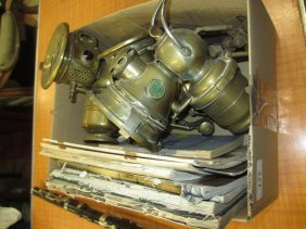 Two Lucas Brass Lamps, Another Similar Lamp And A Small