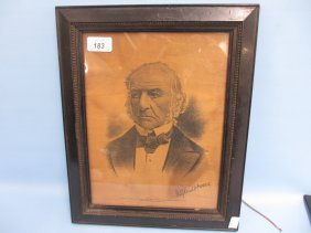 Unusual Mauchline Ware Wooden Panel With A Portrait Of