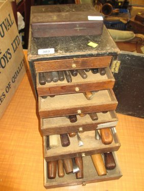 Cased Quantity Of 19th Century Wood Carving Chisels