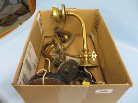 Pair Of Victorian Gas Lamps Adapted For Electricity,