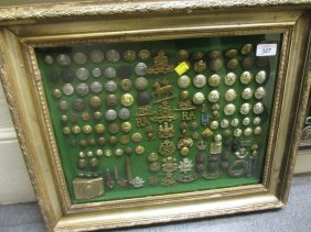 Framed Collection Of Military Buttons, Badges Etc.