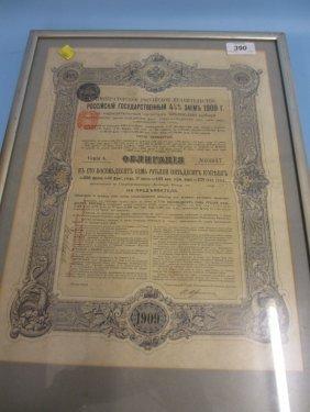 Framed Russian Bond Dated 1909