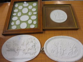 Maple Framed Group Of Plaster Grand Tour Medallions,