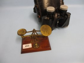 Small Pair Of Brass Letter Scales With Weights And A