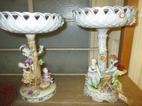 Near Pair Of Mid 20th Century German Porcelain Comports