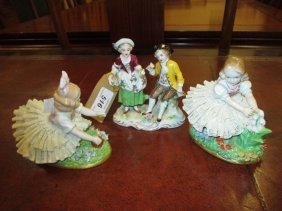 Pair Of Sitzendorf Porcelain Figures Of Girls With