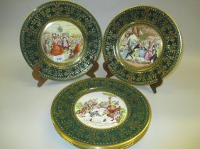 Set Of Six Caverswall Christmas Plates Decorated With