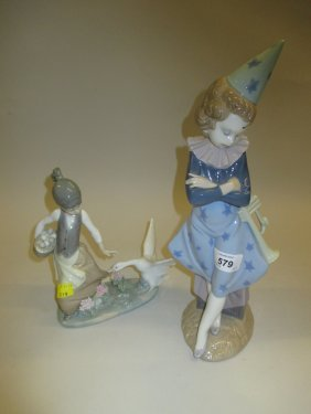 Lladro Figure Of A Girl Wearing A Clown Outfit And