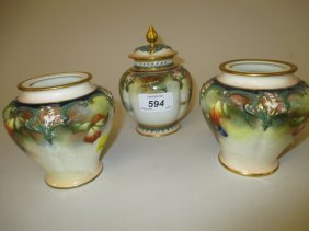 Hadley Worcester Pot Pourri Vase And Cover Painted With