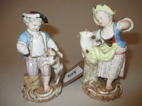 Two Late 19th Century Meissen Figures, A Boy With A Dog