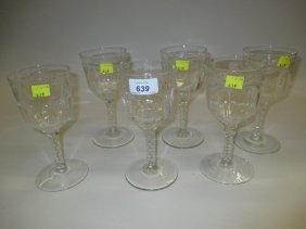 Set Of Six Fine Quality 19th Century Wine Glasses With
