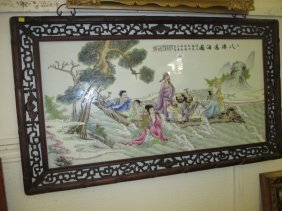 Large 20th Century Chinese Porcelain Wall Plaque
