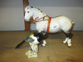 Beswick Figure Of A Dapple Grey Shire Horse, Together