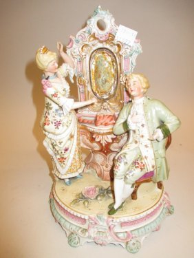 Late Victorian Porcelain Group, Nodding Head Figures