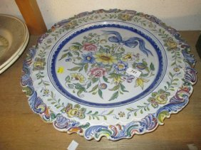 Modern Circular Portuguese Pottery Wall Plate Painted