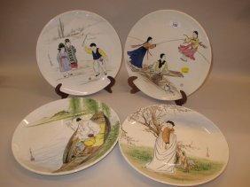 Set Of Four Korean Hand Painted Wall Plates Decorated