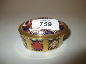Royal Crown Derby Imari Pattern Oval Box And Cover And