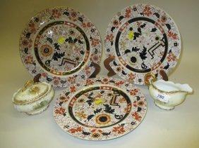 Group Of Three Ironstone Imari Decorated Plates,