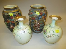 Two Japanese Kyoto Vases Decorated With Figures In
