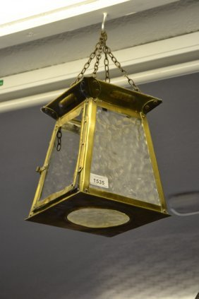 Arts And Crafts Brass Hall Lantern Together With A