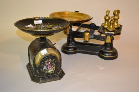Pair Of Painted Toleware Kitchen Scales With Floral