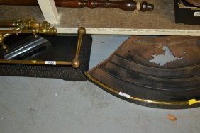 Brass And Cast Iron Fender, Another Small Bow Fronted
