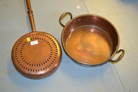 Circular Copper And Brass Warming Pan With A Turned