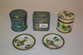 Three Various Floral Decorated Cloisonne Pots With