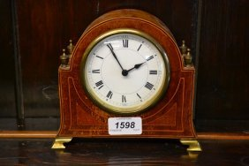 Small Edwardian Mahogany And Line Inlaid Mantel Clock,