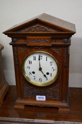 Late 19th Century Walnut Mantel Clock, The Enamel Dial