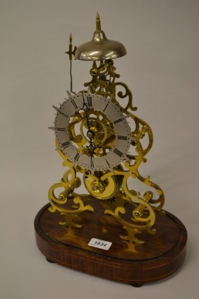 19th Century Brass Skeleton Clock, The Silvered Dial
