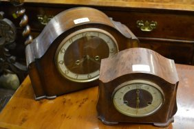 Two Mid 20th Century Dome Top Mantel Clocks, One In