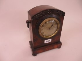 Small Victorian Mahogany Mantel Clock, The Silvered