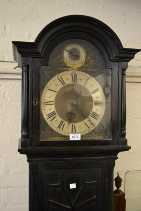 Mid 20th Century Ebonised Longcase Clock With A Three