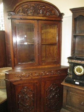Pair Of Victorian Carved Oak Standing Corner Cabinets,