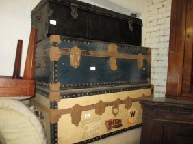 Large Cream Covered Cabin Trunk, Another Blue Covered