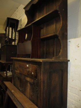 Small Early 20th Century Oak Dresser With Boarded Shelf