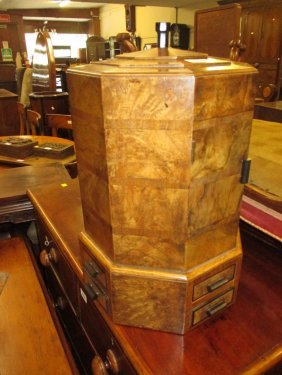 Art Deco Burr Walnut Octagonal Smoker€™s Cabinet
