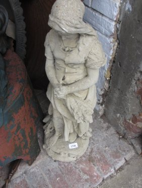 Small Cast Concrete Garden Figure Of A Standing Girl