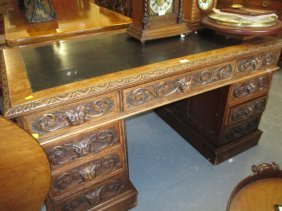 19th Century Oak Twin Pedestal Desk With Nine Carved
