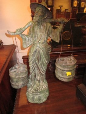 Oriental Green Patinated Bronze Figure Of A Water