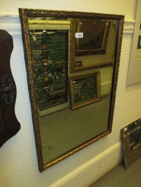 Rectangular Gilt Framed Wall Mirror With Bevel Edged