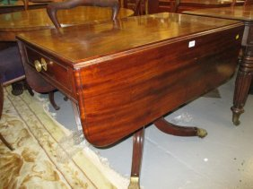 George Iii Mahogany Drop-leaf Breakfast Table Raised On