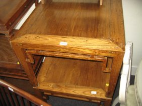 Pair Of Chinese Elm Square Coffee Tables
