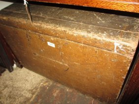 19th Century Grained Pine Trunk With Hinged Cover